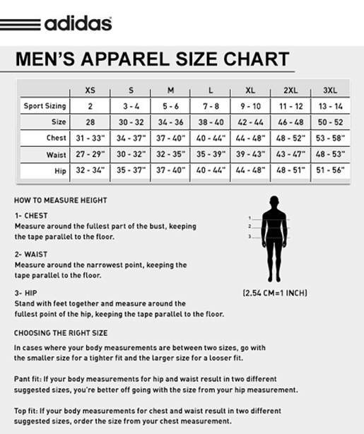 soccer jersey adidas size chart