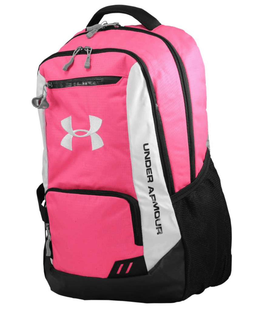 A blue Under Armour Victory backpack is perfect for any athlete. With a place to display your team number in the front, you can represent your school no matter where you are. Made of polyester and nylon, this backpack is durable and sure to withstand the rigors of your games and practices.